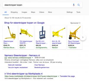 Google Adwords Search ad voorbeeld